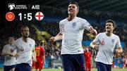 集锦:英格兰5-1狂胜黑山